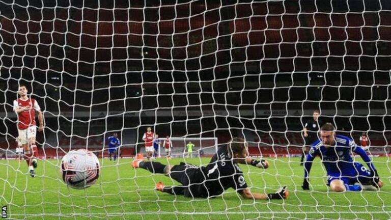 Jamie Vardy has scored five goals at Emirates Stadium in the Premier League, the most of any visiting player